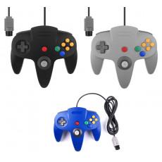 Manette filaire pour Nintendo 64 (Noir, Bleu, Gris)
